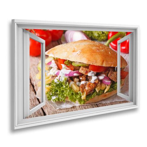 Bild auf Leinwand Fensterblick Appetitanregendes Sandwich Döner Kebab mit Fleisc