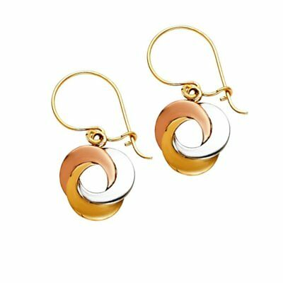 14KT Solid White and Rose Italian Gold Double Circle Haning Earrings
