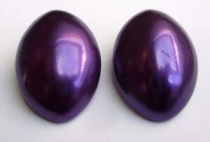 Belles Boucles D'oreilles Bijou Vintage Clips Ovales Résine Violettes 658