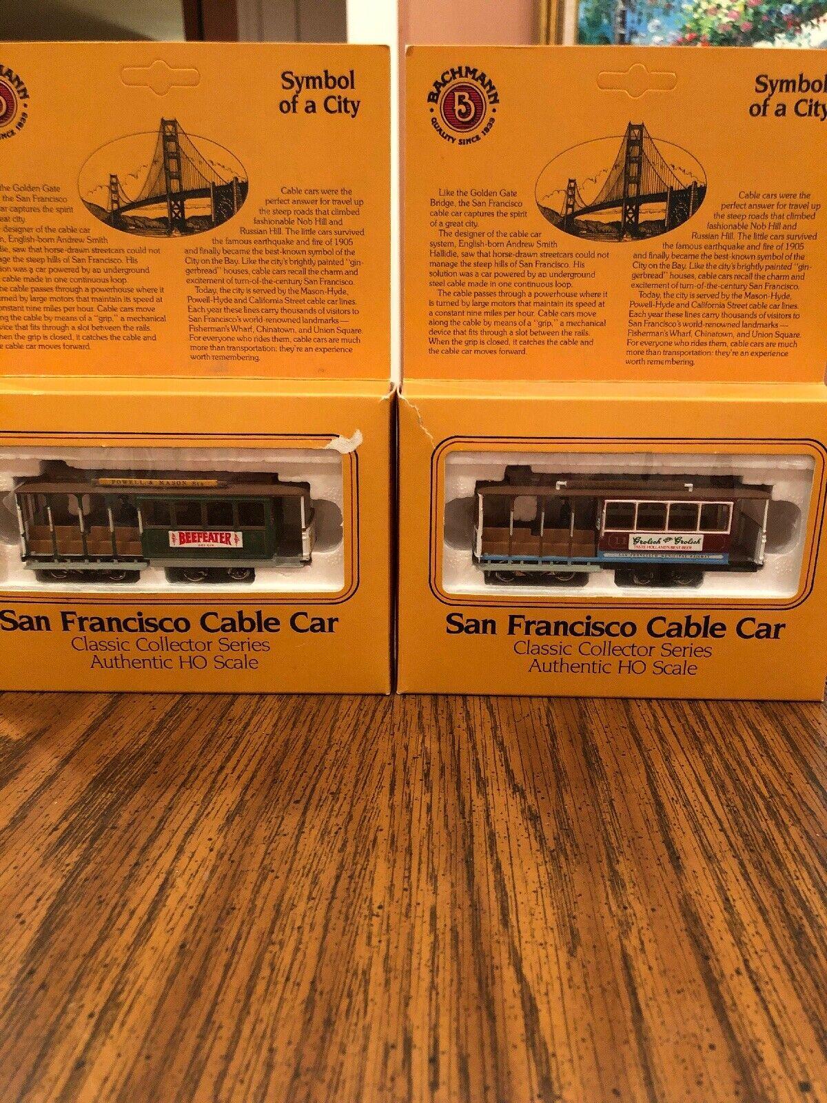 (2) BACHMANN SAN FRANCISCO CABLE CAR HO SCALE W  BOX