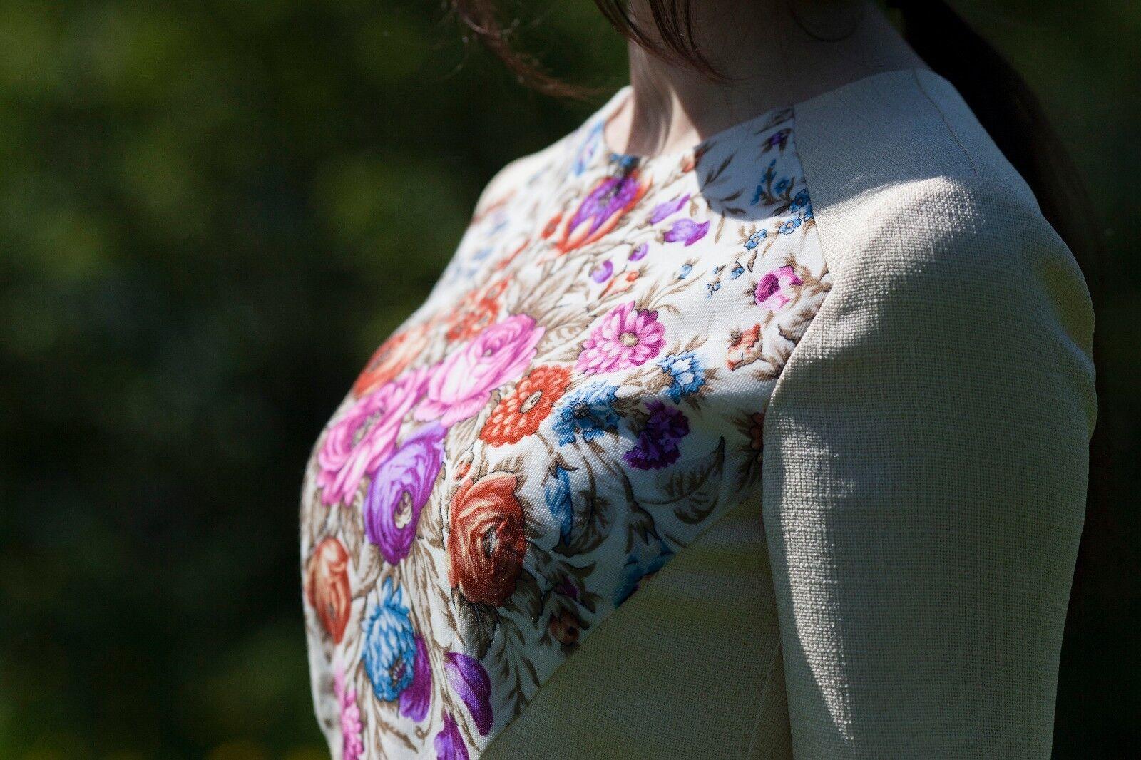 Dress Russian style. Midi. Pavlovo posad shawl.Rosa dress.