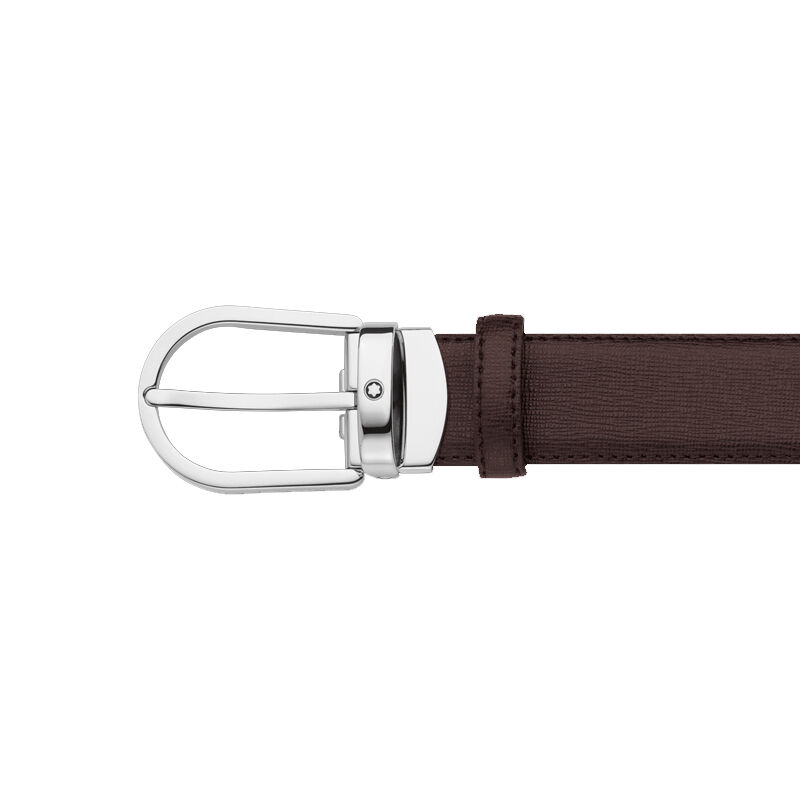 d64050e5799c Montblanc 112932 Brown Leather Belt Grained Effect Silver Metal ...