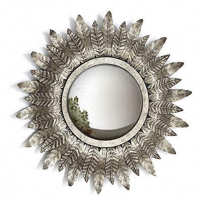 Modern Vintage Small Silver Leaf Round Sunflower Mirror