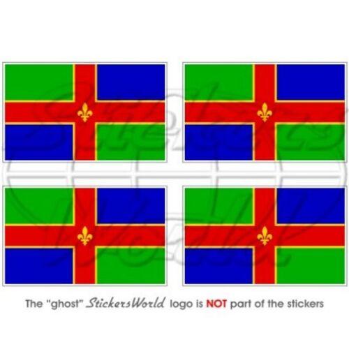 """Stickers x4 LINCOLNSHIRE Contea Bandiera UK Britannica Adesivi Vinile 50mm 2/"""""""