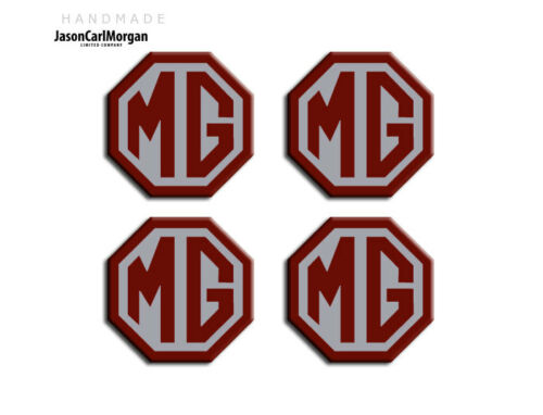 MG ZR Car Alloy Wheel Centre Cap Badges Burgundy Silver 45mm Hub Badge Set