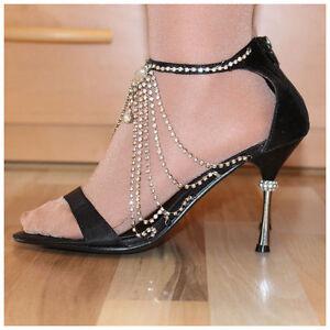 High-Heels-Sandaletten-Gr-39-US9-Luxe-Heels-schwarz-mit-Glitzersteinen-2163