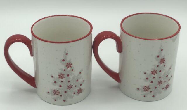 Martha Stewart Collection Christmas Tree Coffee Mugs 2 Pc Set Red White 12 Ounce Ebay