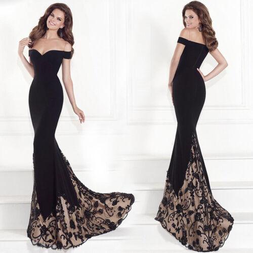 Spitze Abendkleid Ballkleid Partykleid Kleid schulterfrei kleine Schleppe BC451