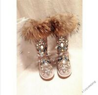 New Fashion Womens Fur Winter Thicken Warm Knee Snow Boots rhinestone Shoes Size