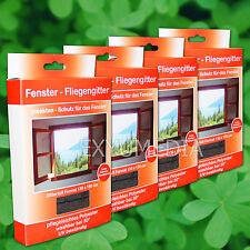 4x Fliegengitter 130x150 UV beständig Insektennetz Fenster Schwarz Mücken Netz