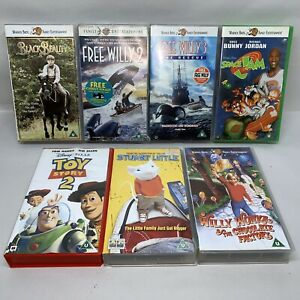 U-Family-Films-VHS-Video-Bundle-Toy-Story-2-Willy-Wonker-Free-Willy-2-amp-3-1123H