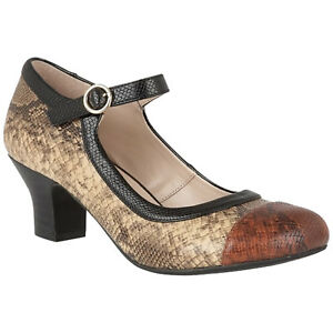 Senoras-sello-de-loto-ornice-Marron-Serpiente-Diseno-1920s-1930s-Mary-Jane-Zapatos