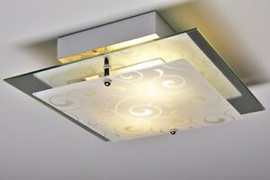Plafoniera Da Esterno Con Doppia Lampada : Plafoniera quadrata vetro decorato metallo lampada da soffitto