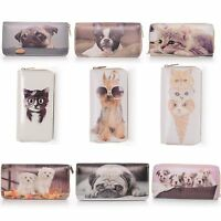 Wallet Dog Cat Zippered Faux Patent Leather Kitten Puppy Glasses Sunglasses Cute