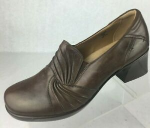 Earth-Womens-Brown-Leather-Heel-Shoes-Slip-On-Loafers-Seedling-Bark-US-SIze-8-B