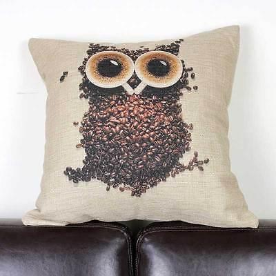Night Owl Retro Coffee Bean Cup Cushion Cover Throw Pillow Case Linen Home Decor