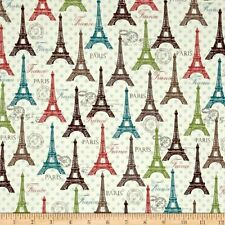Rosenthal Represents Paris Eiffel Tower Spring 100% Cotton Fabric by the Yard