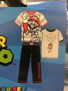 6cffcab54a Komar Kids Boys 3 Piece Pajama Sleepwear Set With Shirts and Pants Mario  Size 5