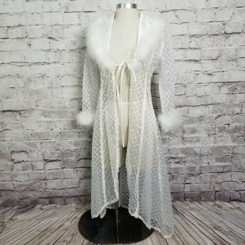 Vintage Hollywood Glam Robe Sheer Embroidery Feath