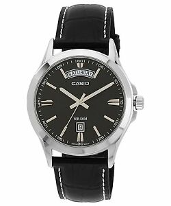 Casio MTP1370L-1A Men's Black Dial Black Leather Band Steel Day Date 50M Watch  4971850908036
