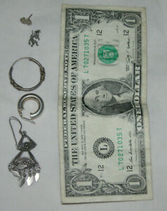 Mixed-Lot-of-925-Sterling-Silver-Single-Earrings-8-5-grams-Total-All-Stamped-925