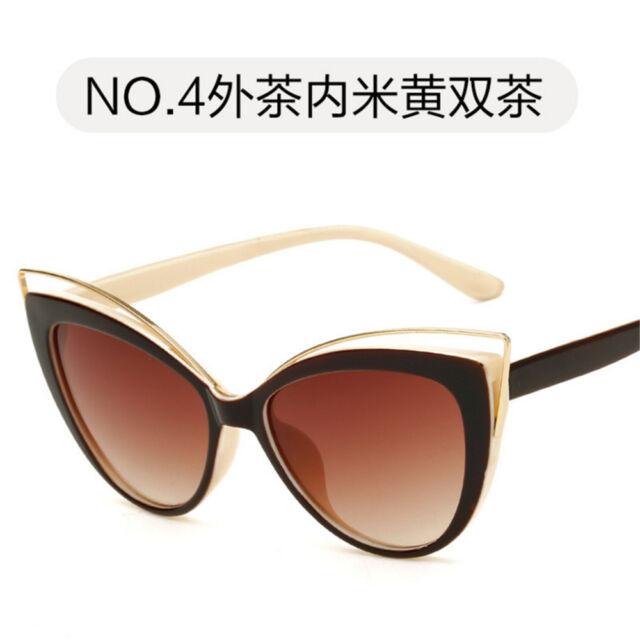 Men Women Vintage UV400 Sunglasses Retro Fashion Cateye Oval Frame Glasses Shade
