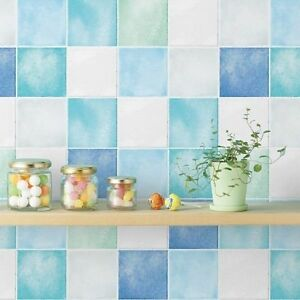 Blue White Tile Look Removable Contact Self Adhesive Wallpaper Peel Stick Paper Ebay