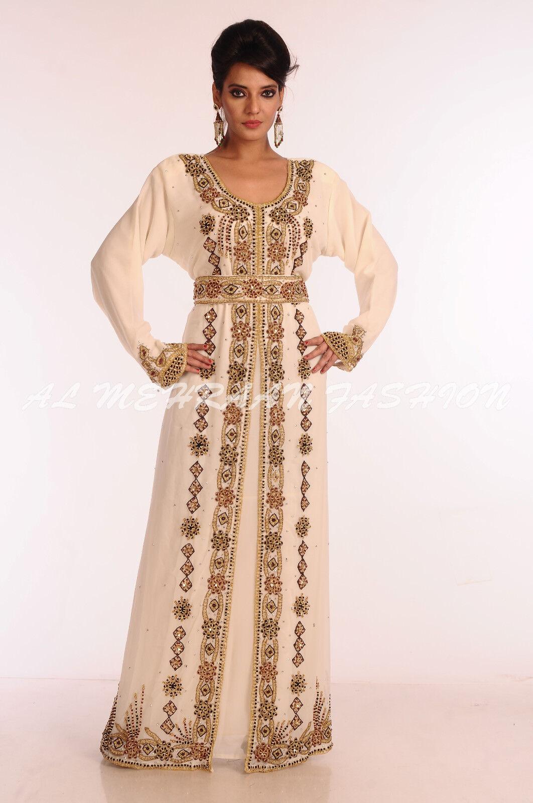 DUBAI MODERN BRIDAL CAFTAN DRESS MgoldCCAN ARABIC ISLAMIC WEAR AT RAMADAN SALE