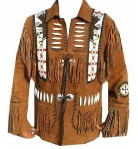 Homme Eagle Perles Veste Détails Os American Franges Amérindien Sur Daim Cuir ywvN8m0OPn