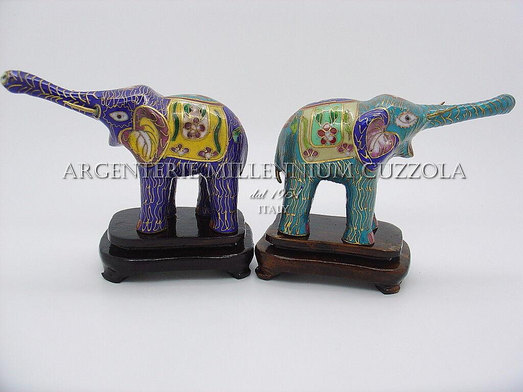 RARO SET ELEFANTINO AUTENTICO CLOISONNE - RARE SET CLOISONNE' LITTLE ELEPHANT