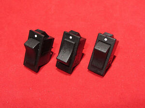 3 pieces - Swann 39 Black Rocker Switch, SPST 15A 125VAC 1/2HP ... on