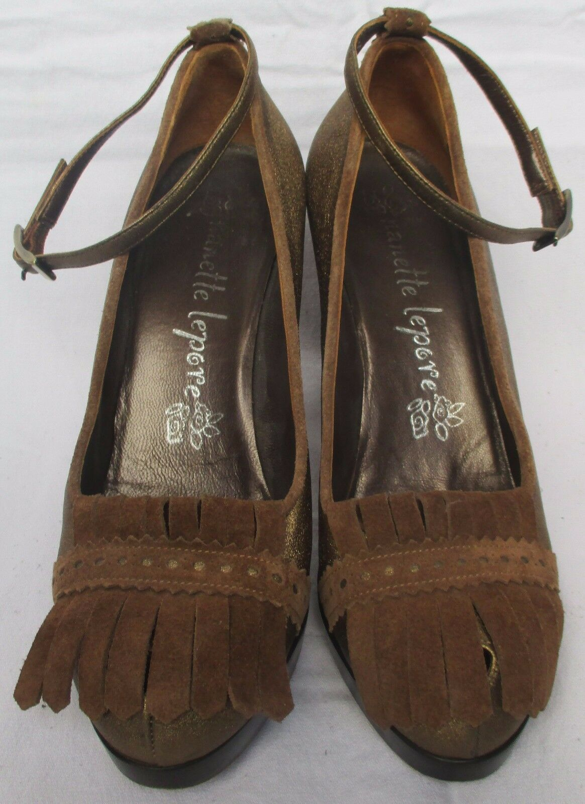 Nanette Lepore schuhe Bronze Leather Ankle Strap Platform schuhe Lepore Größe 8 B fb24f8