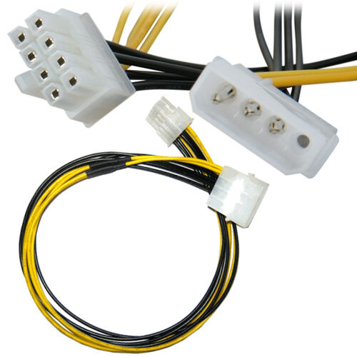 """12/"""" 4 Pin Molex to 8 Pin ATX EPS12V Motherboard Power Supply Adapter Cable"""