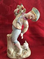 Shafford China Japan Boy with Dog and Bird Figurine 7 1/4 in high Vintage