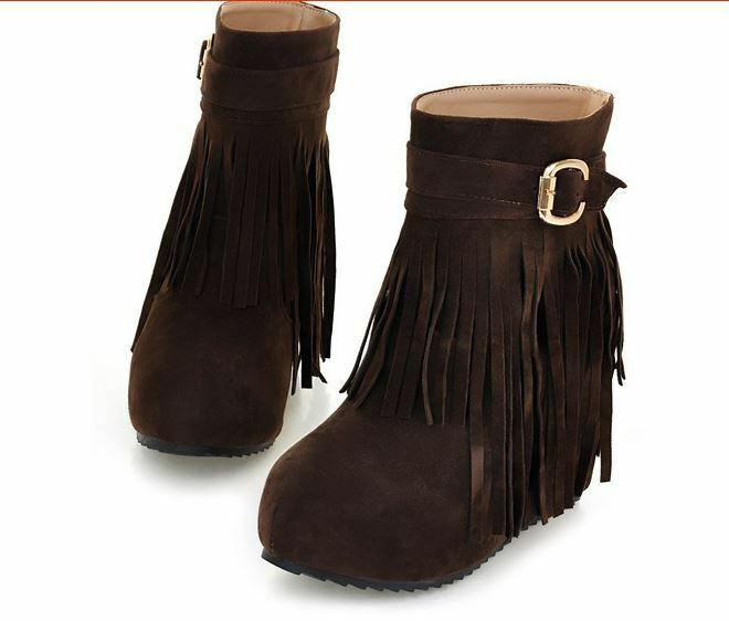 Botas cómodo zapatos de mujer como marrón flecos cuña 10 como mujer piel 8786 c66545