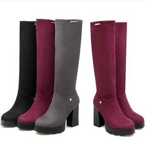 Womens-Round-Toe-Gothic-Block-Heel-Side-Zip-Riding-Punk-Mid-Calf-Knee-High-Boots