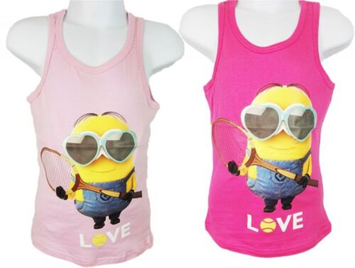 Girls Minions Vest Top Cerise or Baby Pink 4 5 6 8 10
