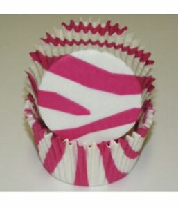 Zebra-Stripe-Pink-amp-White-Baking-Cups-Pack-of-50-Patty-Pans-Cupcake-Papers