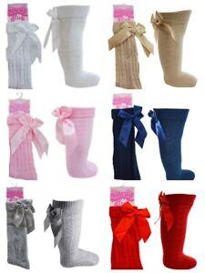 Baby Girls Infant Knee Length Spanish Traditional Ribbon Bow Socks 0M-6Yrs