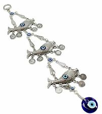 Turkish Blue Evil Eye 3 Lucky Fishes Amulet Wall Hanging Protection Home Decor