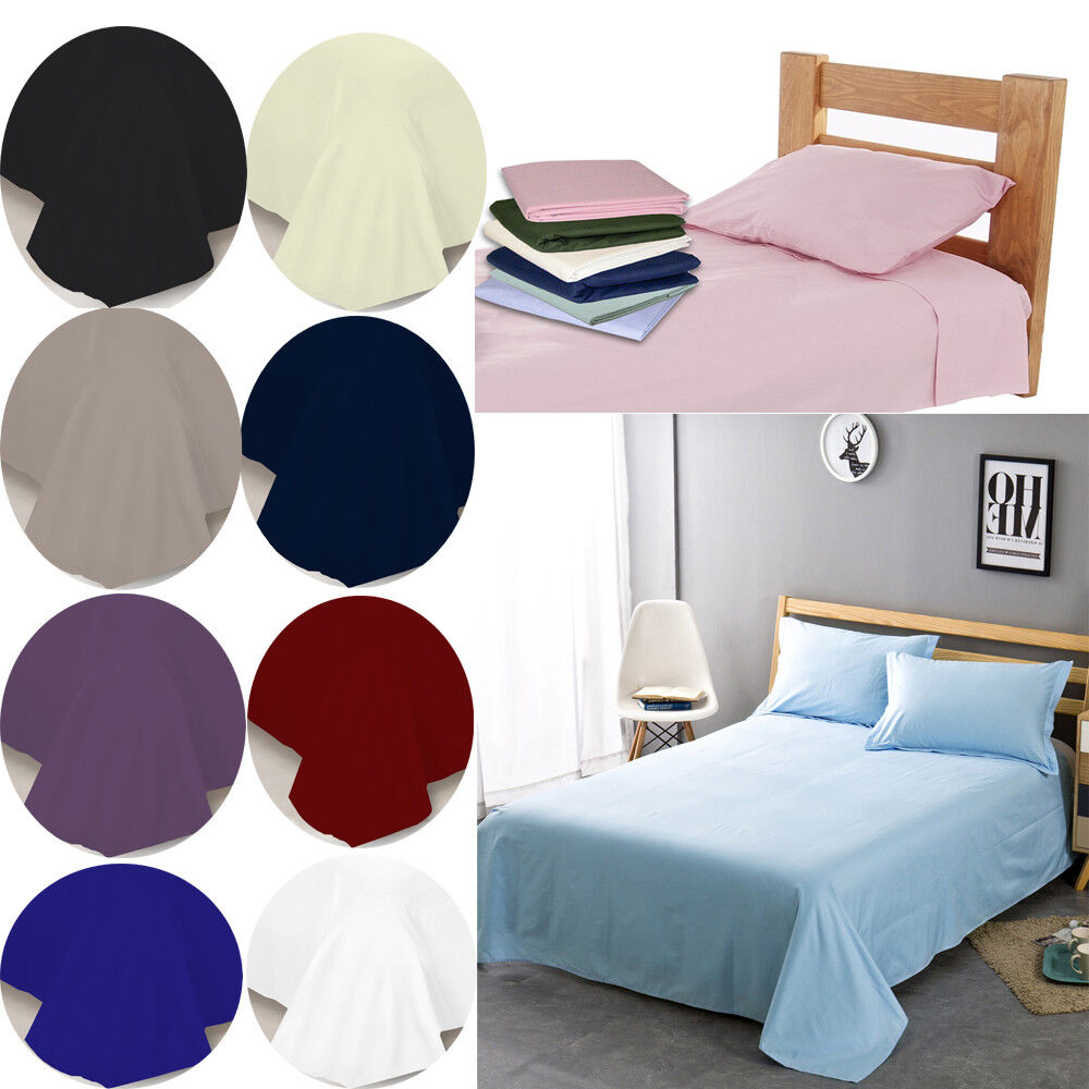 New Soft Plain Dyed Flat Sheet Poly Cotton Bed Sheets Single Double