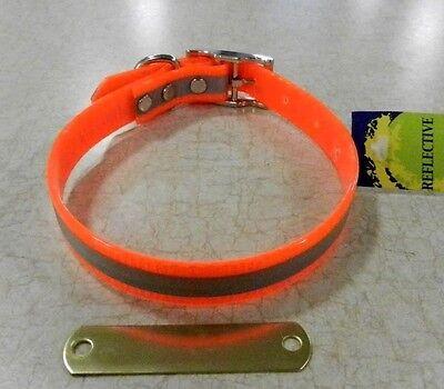 "HUNTING DOG COLLARS 102D-REFLECTIVE  16""  NEON ORANGE FREE BRASS NAMEPLATE"