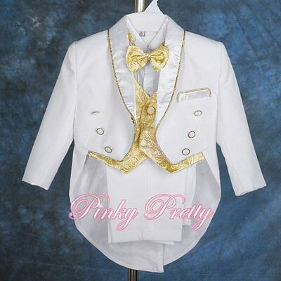 Baby Boy White Gold Formal Suit Tuxedo Wedding Pageboy Christening 6m-9m #015A