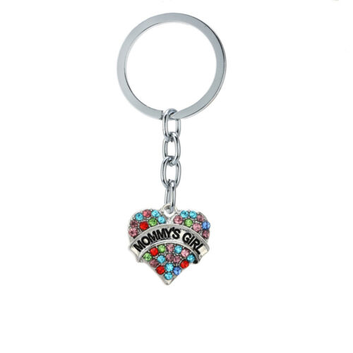 Family Heart Crystal Nanny Mommy Daddy Grandma Chain Keychain Keyring Jewelry