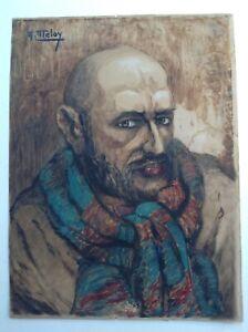 Andre-Meley-1876-Impressionismo-XIX-Ritratto-Uomo-per-Sciarpa-Acquerello