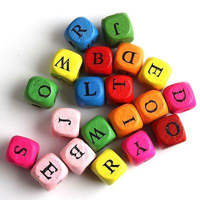 200Pcs New Cube Assorted alphabet letter Wood bead 10mm 110847