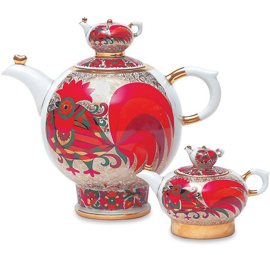 rot Rooster Set of 2 Teapots Russian Imperial Lomonosov Porcelain 8.5 & 61 fl oz