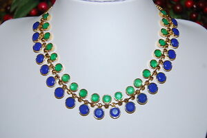 FOSSIL-NEW-NECKLACE-OF-BLUE-AND-GREEN-STONES-MOUNTED-ON-GOLD-TONED-METAL-LINKS