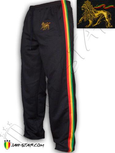Rasta Hose Lang Pant Reggae Rastafari Lion of Judah Gesticktes Schwarz//Weiß