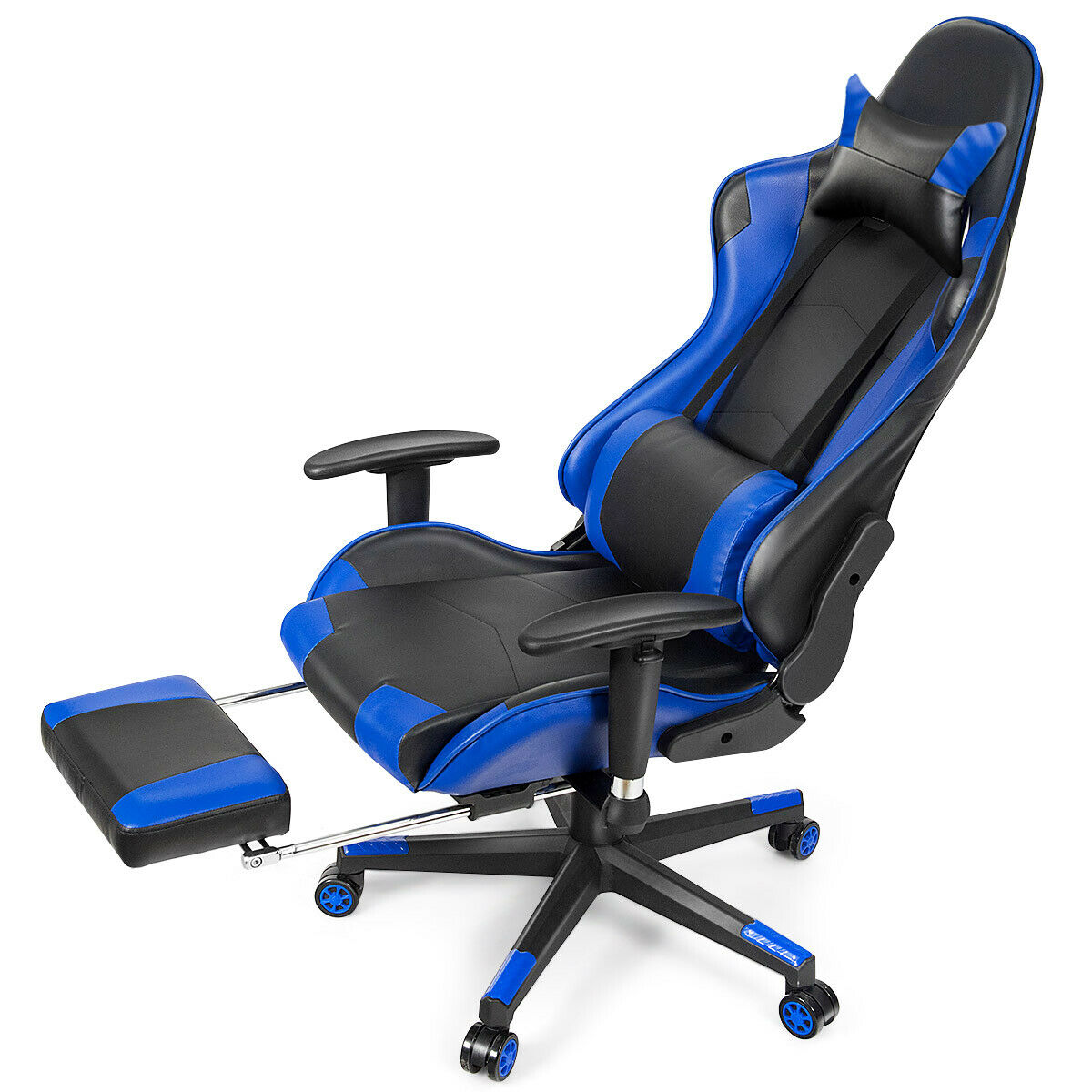 Massage Gaming Chair Recliner Racing w/  Lumbar Support Office Home Blue